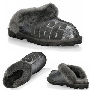 UGG Coquette Sparkle Women Slippers Charcoal Sz 5